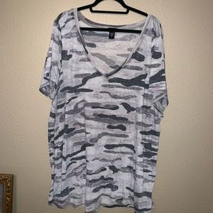 Torrid size 4 grey burnout camo top. Plus size 26